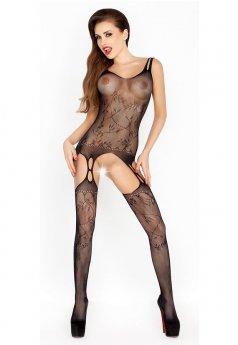 Modern Jartiyer Görünümlü Siyah Vücut Çorabı