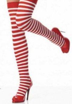 Merry See Kırmızı Beyaz Seksi Uzun Çorap
