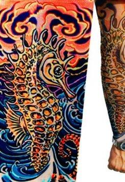 Deniz atı Motifli Giyilebilir Dövme