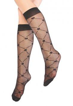 Sümbül Desenli Dizaltı Kadın Çorap Siyah