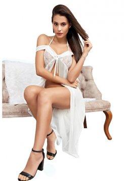 Beyaz Sexy Gecelik Dantel Motifler