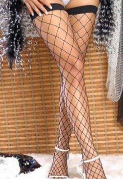 Merry See Siyah File Jartiyer Çorabı