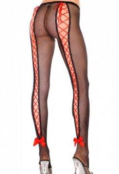 Merry See Özel Tasarım Seksi Arkası Kırmızı İpli Çorap