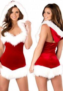 Merry See Şapkalı Tüylü Yılbaşı Kız Kostümü