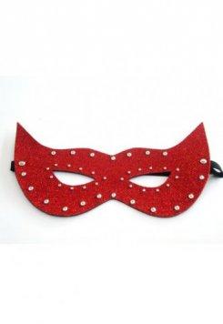 Kırmızı Parlak Deri Fantezi Maske
