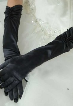 Merry See Siyah Uzun Saten Eldiven