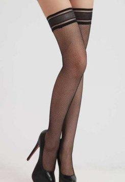 Diz Üstü Fileli Siyah Çorap