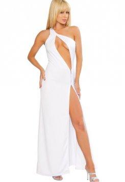 Fantazi Beyaz Fermuarlı Gece Elbisesi