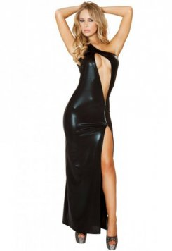 Fermuarlı Uzun Deri Gece Elbisesi