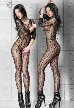 Dinamik Desenli Özel Bölgesi Açık Süper Seksi Vücut Çorabı