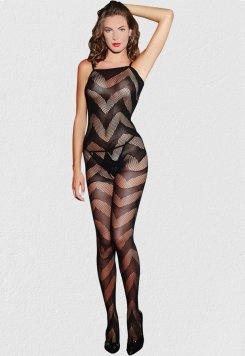 Dalga Desenli Kadın Vücut Çorabı