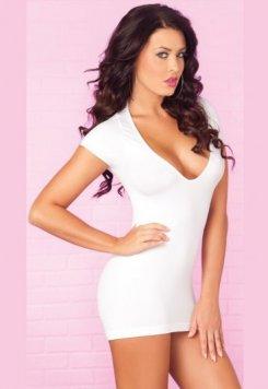 Seksi Lazer Kesim Beyaz Elbise