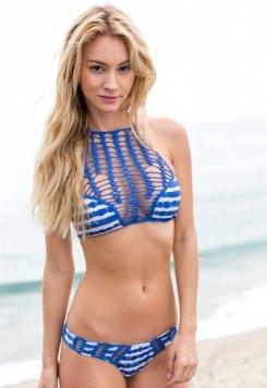 Mavi İşlemli Renkli Özel Yapım Bikini
