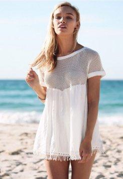 Beyaz Şık Plaj Elbisesi Pareo