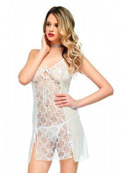 Transparan Beyaz Gecelik Uzun Seksi Giyim