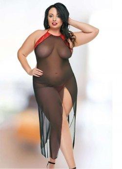 Büyük Beden Uzun Sexy Transparan Gecelik