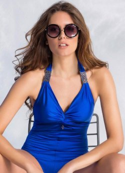 Şık Aksesuarlı Mavi Mayo Perla