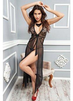 Seksi Siyah Uzun Gecelik Fantazi Giyim