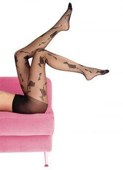 Külotlu Çorap Gül Motifli Siyah