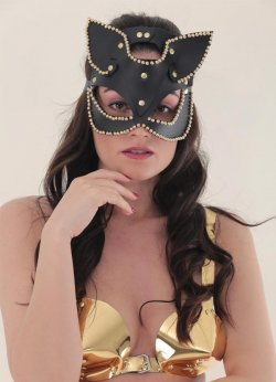 Taşlı Deri Sexy Cat Fantazi Maske