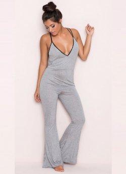 Gri Dantel İşlemeli Askılı Eşofman Pijama Takım