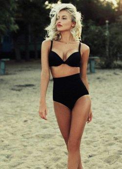 Siyah Yüksek Bel Kaplı Bikini Üst