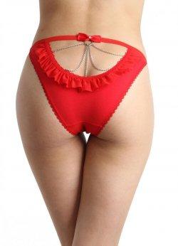 Zincir Aksesuarlı Fantazi Giyim Kırmızı Külot