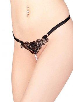 Siyah Boncuklu Desenli Seksi G String