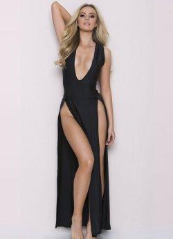 Seksi Elbise Uzun Yırtmaçlı Gecelik