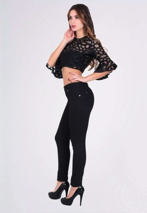 Fermuarlı Kadın Siyah Tayt Pantolon