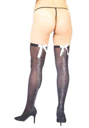 Parlak Taş Tasarımlı Ve Beyaz Kurdeleli Seksi Çorap