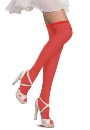 Slikon Standart Düz Jartiyer Çorabı Kırmızı