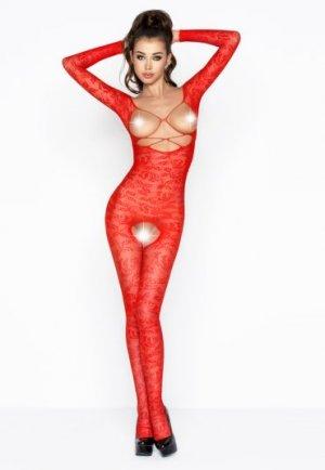 Göğüs Ve Özel Bölgesi Açık Kırmızı Vücut Çorabı