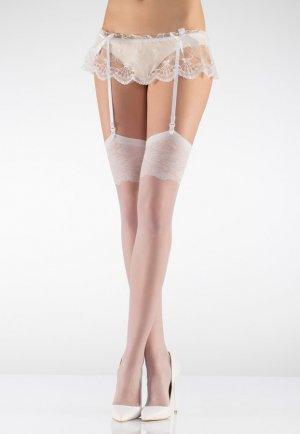 Dokuma Dantelli jartiyer Çorabı Beyaz