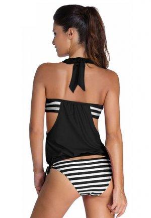 Siyah Beyaz Kalın Cizgili Bikini Tek Alt