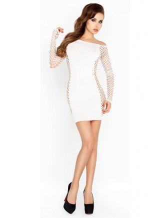 Fileli Seksi Beyaz Fantazi Elbise