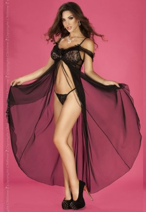 Siyah Gecelik Uzun Şık Tasarım Fantazi Giyim