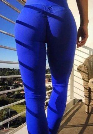 Kalça Tasarımlı Mavi Tayt