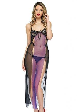 Seksi Uzun Gecelik Mor Fantazi Giyim
