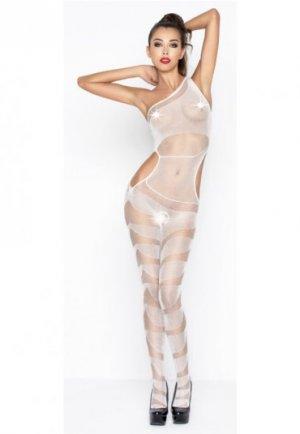 Desenli Transparan Fantazi Beyaz Vücut Çorabı