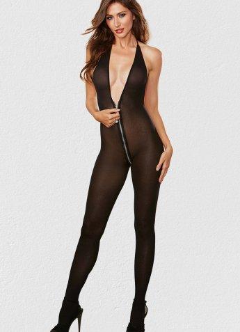 Fermuarlı Siyah Vücut Çorabı