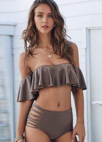 Angelsin Kahverengi Çok Şık Bikini Üst