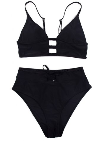 Siyah Yüksel Bel Şık Bikini Takım
