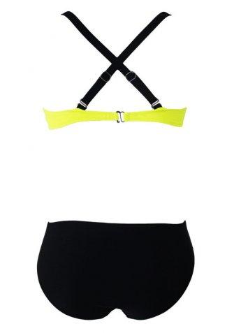 Sarı Siyah Şık Bikini Tek Üst