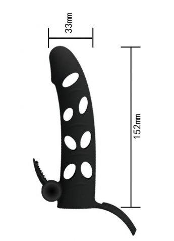 Özel Tasarım Siyah Klitoris Uyarıcılı Penis Kılıfı