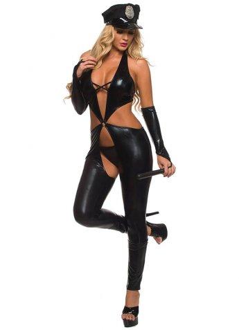 Fantazi Polis Kostüm Siyah Deri
