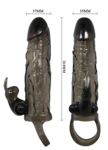 Klitoris Uyarıcılı Siyah Penis Kılıfı