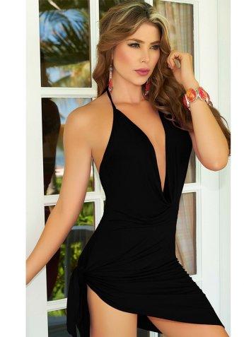 Siyah Elbise Sırt Dekolteli Seksi Giyim