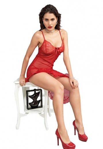 Sexy Kırmızı Gecelik Transparan Fantazi Giyim