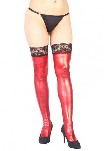 Dantelli Kırmızı Deri Görünümlü Parlak Fantazi Çorap